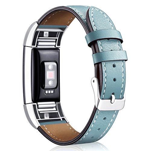 """Mornex Für Fitbit Charge 2 Armband, echtes Leder-Armbänder, Unisex-Ersatzband mit Metall Konnektoren(5,5\""""-8,1\"""") Dunstes Blau"""