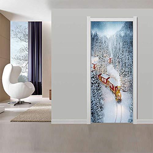 Deurbehang, zelfklevend, 77 x 200 cm, sneeuwtrek, idee, Pvc, fotobehang, behang, deurpaneel, deurposter, deursticker, deur, decoratie, foto, afbeelding 77x200cm