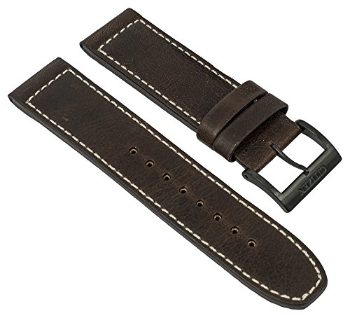 Ersatzband Uhrenarmband Leder Band Dunkelbraun 22mm passend zu Citizen Eco Drive Sports Chronograph CA4215-04W 28550