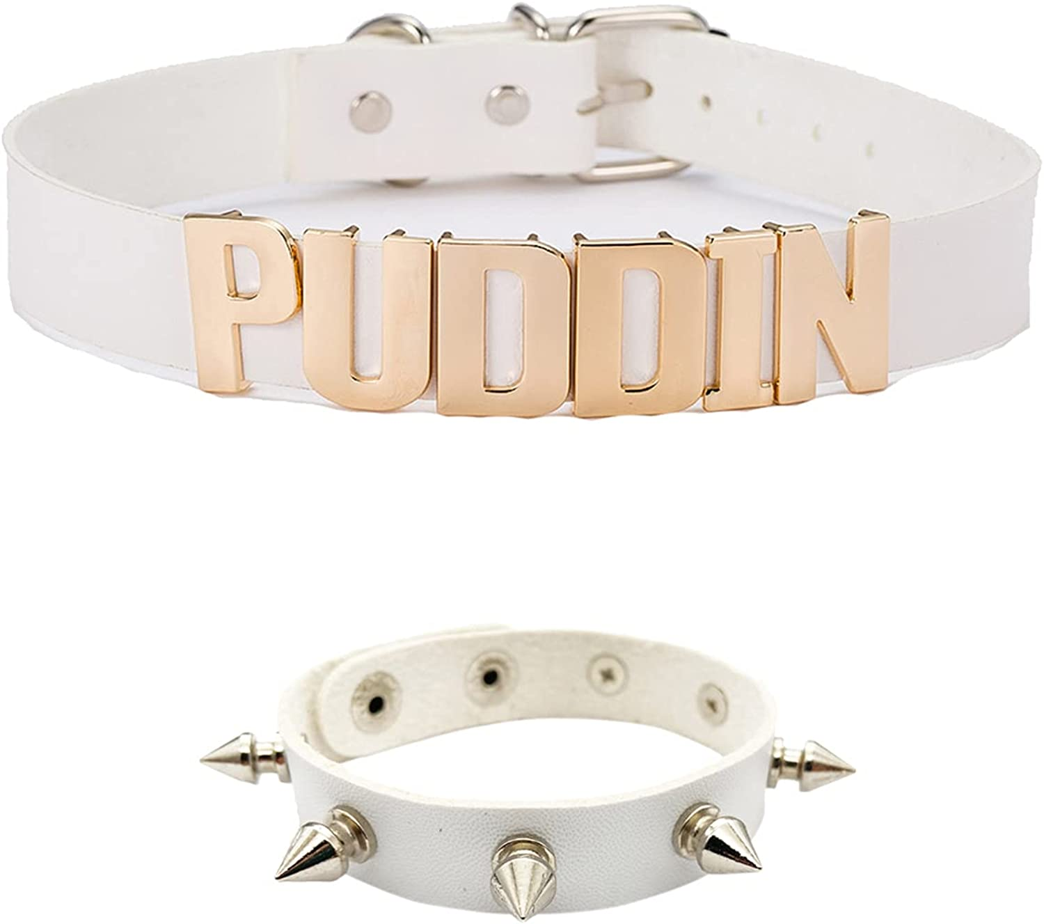 Puddin Choker Necklace Collar Punk Leather Spiked Bracelet for Women Halloween Costume Cosplay