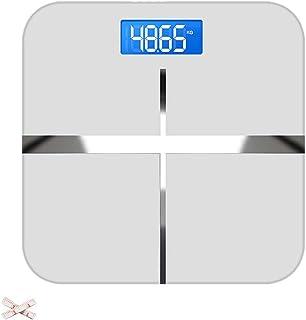 JINJIN Báscula de baño de Alta precisión Cuerpo Digital Peso Escala de pesaje, 28st / 180kg / 400lb, retroiluminación de la Pantalla, de diseño Compacto (Color : Silver)