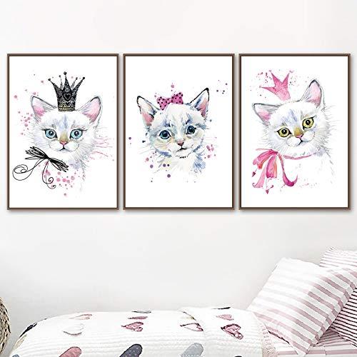 UIOLK Mehrfarbige Kunst Malerei Mode Süße Cartoon Katze Anime Wandmalerei Leinwand...
