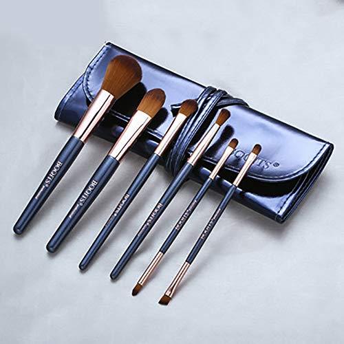 6pièces Pinceau de maquillage Ensemble, Premium Mélange Visage Poudre Rougir Cache-cernes Yeux Cosmétiques Brosses Kit de Avec Pochette de maquillage-Bleu foncé