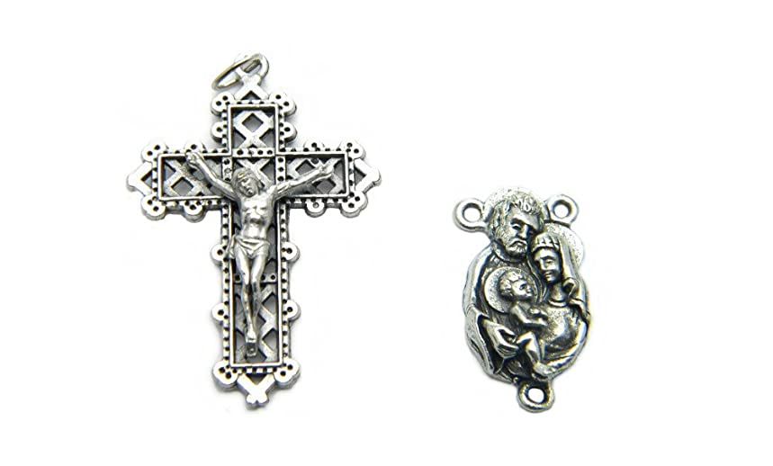 PlanetZia Creations Joseph, Mary and Jesus Rosary Center with Metal Lace Crucifix For Rosary Making TVT-L782