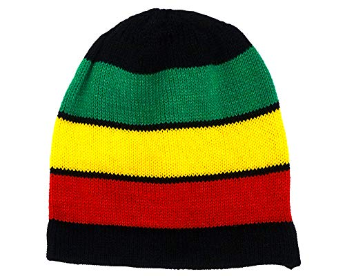 Mia Jewel Shop Rasta Striped Black Beanie Soft Knit Unisex Reggae Hat Warm Winter Cap (Thick Stripes)