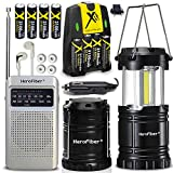 2 Portable Lanterns + 1 AM FM Radio + 8 Rechargeable AA Batteries & Charger, Collapsible Camping Lamp has Super Bright Light, Transistor Radio is Small & Compact, for Hiking, Power Outages
