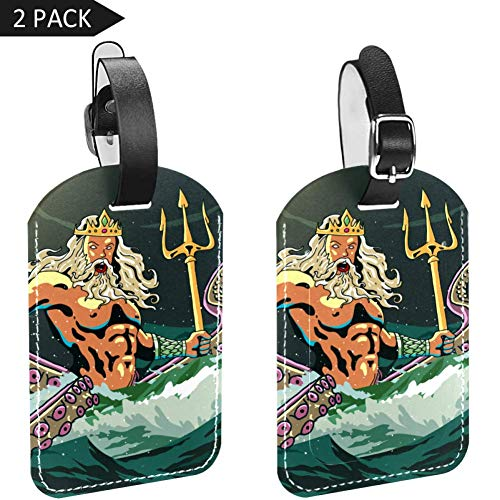 Poseidon Leather Luggage Tags 2PCS Business Card Holder Bag Tag Travel ID Labels Tag For Suitcases 2.8x4.5in