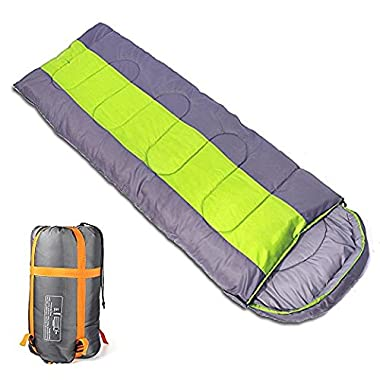 Sleeping bag, packable backpacking sleeping bags with ultralight lightweight, 2 bags spliced as a big double sleeping bag for outdoor travel, hiking, camping in all seasons (Green color right zipper)
