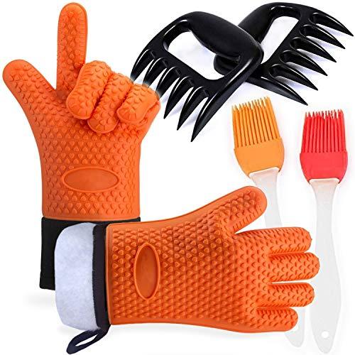 Barbacoa Grill guantes resistente al calor con garra de oso carne garras y pincel de silicona, Guantes de Cocina antideslizante para Horno Microondas y Parrilla, Naranja