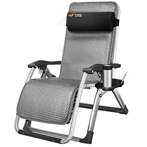 BSJZ Tumbona Tumbonas y sillones reclinables de jardín Tumbona Sillas Plegables de Oficina con cojín en Textoline con Mesa Auxiliar/portavasos Gratis