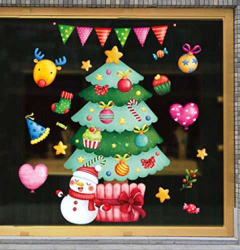 Etiqueta engomada de la decoración de Navidad Etiqueta de la Pared Ventana de Vidrio Hombre Viejo Muñeco de Nieve Etiqueta engomada de la Puerta del Copo de Nieve Escena de la Tienda Diseño Regalo