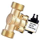 SoarUp Válvula solenoide eléctrica de agua, 3/4' DC 24V Normalmente cerrada de latón electroválvula magnética para el control de agua