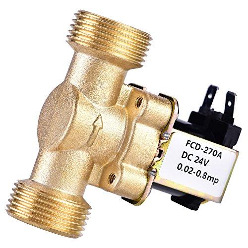 "SoarUp - Válvula solenoide eléctrica para control de agua (3/4 ""DC 24 V, latón normalmente cerrado, electroválvula magnética)"