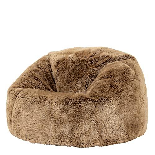 icon Ottawa Childrens Faux Fur Bean Bag Chair - Mink Brown, Large, 65cm x 45cm, Luxurious Furry Living Room Kids Bean Bags