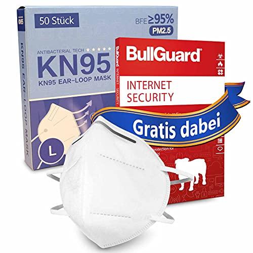 50 Stück KN95 Schutzmaske Filtrationseffizienz von 95% + GRATIS BullGuard Internet Security 3 User - ultimativer Schutz für Sie und Ihr PC-System
