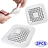 Calin Hair Catcher Drain Trap Protector Covers Square 2 Pack, Plastic Silicone Sink Strainer for Bathroom Bathtub Shower, Large & Small Size, White