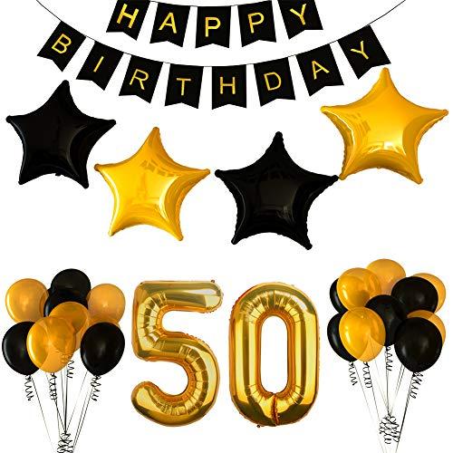 BSL 50.o Kit de Decoraciones de la Fiesta de cumpleaños, Bandera del Feliz Cumpleaños, 50.ª Globos de Número de Oro, Globos de Estrellas de látex, Decoraciones de Cumpleaños de 50 Años de Edad
