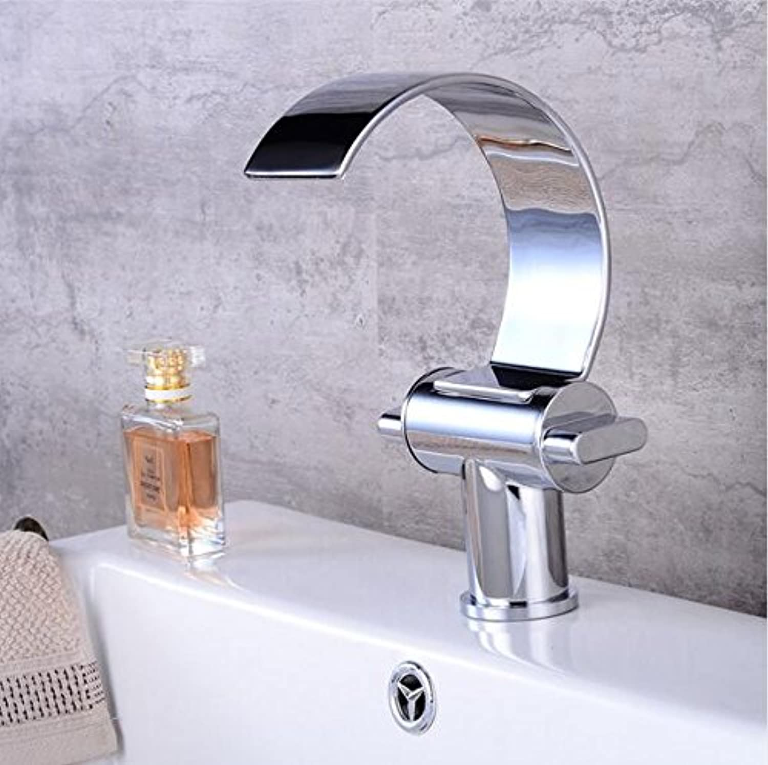 Makej Deck Mount Waterfall Bathroom Faucet Basin Vanity Sink Faucet Waterfall Bathroom Mixer Deck Mounted Tap