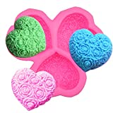 3 Cavity Heart Shaped Rose Flower Silicone Molds Soap Making Molds Fondant Candy Molds with Rose Flower Pattern for Soap Lotion Bar Bath Bomb Candle Candy Chocolate