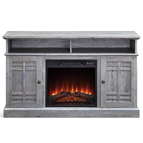 """BELLEZE 014-HG-41802-HT-LGY 48"""" Stand Console W/Media Shelves for TVs up to 50"""" Wide with Fireplace and Remote Control, Light Grey"""