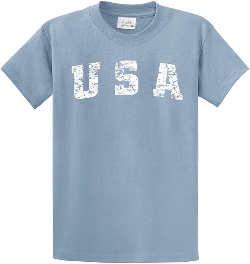 Joe's USA -Tall Vintage USA Logo Tee T-Shirts in Size Large Tall - LT Stonewashed Blue