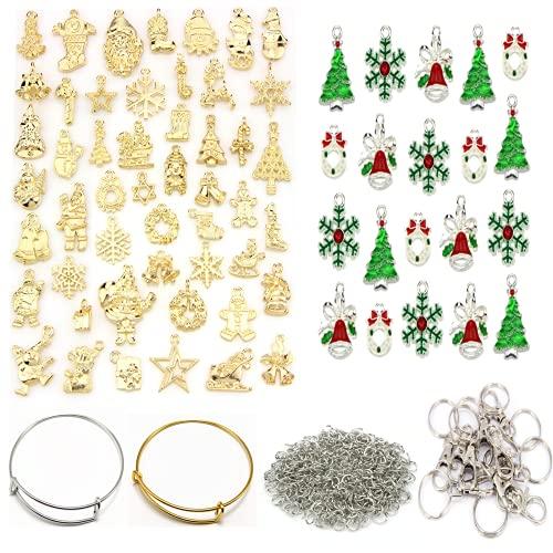 300 Piezas Colgantes de Navidad Mujer Oro Navideños Encantos,árboles de Navidad, muñecos de nieve, medias, colgante para collar, pulsera, DIY Manualidades Decoración