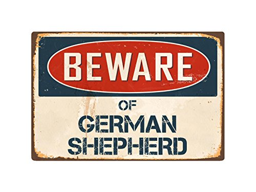 "StickerPirate Beware of German Shepherd 8"" x 12"" Vintage Aluminum Retro Metal Sign VS181"