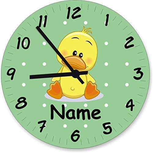 Shirtinstyle Wanduhr Kinderzimmeruhr Ente mit Wunschnamen Geschenk Uhr Kinder Handmade, 20cm, Pastellbgrün