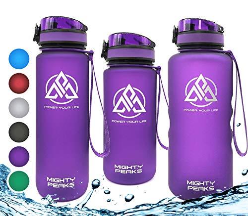 MIGHTY PEAKS Tritan Sport-Trinkflasche 1 l | BPA frei | Wasserflasche 1liter | Purple, Lila | Trinkflasche Kinder, Plastik-Flasche 1l | Sportflasche für Fahrrad, Fitness, Fussball, Kinder, Sport