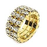 fashionjewellery4u Anillo de 3 filas de diamantes de imitación elástico en tono dorado, ajustable, para boda, dama de honor, mujeres y niñas