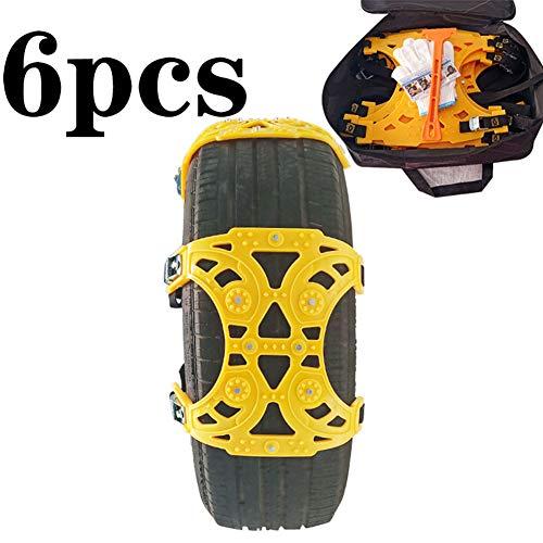 EVR Chaînes à Neige pour Auto, Lot de 6 chaînes à Neige - pour Voiture/Camion/SUV - Roue de Secours - Conviennent à la Plupart des véhicules - Pneu de Largeur 165-285 mm,Jaune