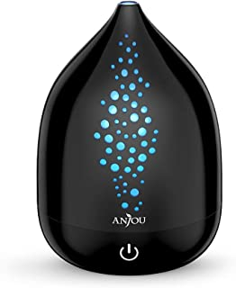 Anjou 200ml Essential Oil Diffuser Aromatherapy Diffuser 2-in-1 Humidification and Aromatherapy for Home, Office (BPA-free, Up to 8H Use, Waterless Auto Shut-Off) - Black