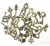 Llaves antiguas de bronce 40 piezas antiguo llave rústica mezclado encantos de llaves vintage para la decoración de la boda favor, colgantes, fabricación de joyas