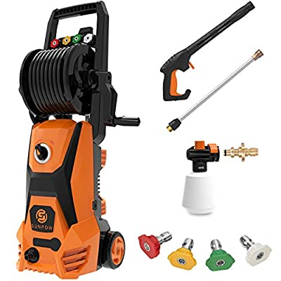 SUNPOW Pressure Washer, High Portable Water Power Washer 1800 Watt ,169 Bar(Max) , Flow 342 L / H Jet Wash with Hose Reel, 4 Nozzles, Hoses, Metal Motor for Homes, Cars, Decks, Driveways, Patios by SUNPOW