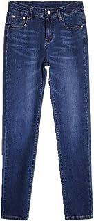 Las mujeres de la primavera recta cintura alta de las señoras pantalones vaqueros más el tamaño de la ropa de mezclilla pa...