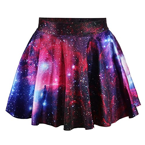 Fashion Damen Sommerkleid Retro Digital Print Vintage Kleid Minikleid Minidress Minirock Rock Skirt (Rote Galaxie)