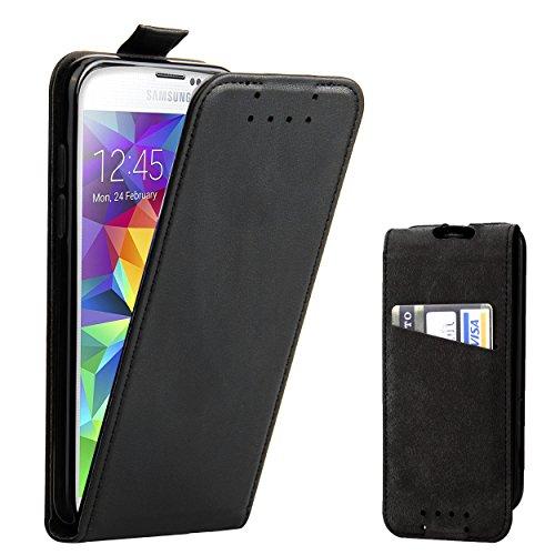 Supad Galaxy S5 Hülle, Leder Tasche für Samsung Galaxy S5 / S5 Neo Handyhülle Flip Case Schutzhülle (Schwarz)