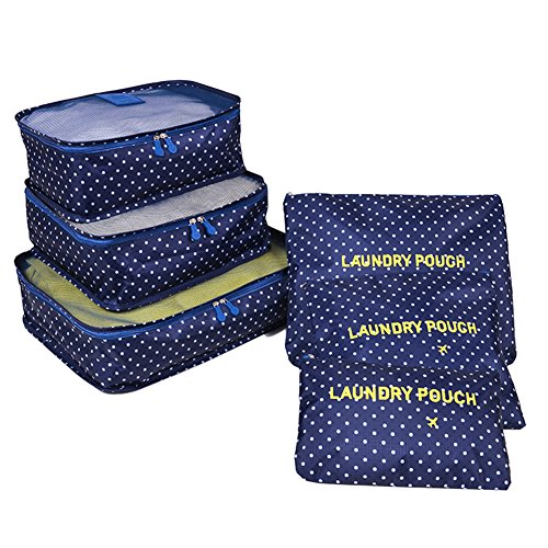 FunYoung Cubo di imballaggio set 6 pezzi sacchetto in sacchetto di stoccaggio caso sui viaggi multi-colorato