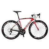 SAVA Bicicleta de Carretera de Fibra de Carbono 700C SHIMANO 5800 22-Velocidad Sistema de Transmisión/Frenado Maxxis Neumáticos Fi'zi: k Cojín Bicicleta Carbono Urbana (Rojo & Blanco, 520mm)