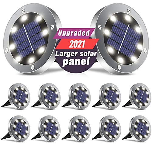Solar Lights Outdoor Garden, 2021 Upgraded Larger Solar Panel, 8 LED Solar Garden Lights Waterproof In-Ground Lighting for Landscape Patio Pathway Lawn Yard Walkway Warm White 12 Pack