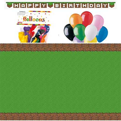 """Minecraft Themed Party Decorations – Includes Party Banner,Tablecloth and Ten 12"""" Balloons."""