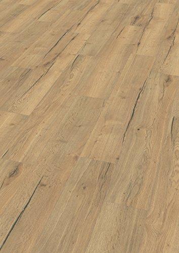 EGGER Home Aqua+ Laminat braun Holzoptik - Creston Eiche natur EHL106 (8mm, 1,994 m²) Laminatboden wasserfest - Feuchtraum geeignet