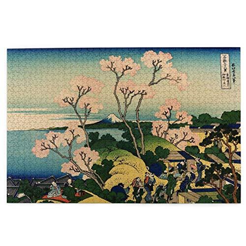 Rompecabezas para adultos de 1000 piezas, Hokusai Japan Ink Cherry Blossom Mount Fuji Puzzle para niños y adolescentes, rompecabezas grande de 75,5 cm x 50,3 cm