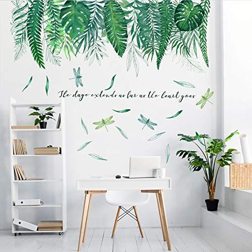 Tropische Grüne Verlässt Pflanze Wandtattoo Wandsticker, MOCOLOM Abnehmbare Palmen und Libelle Wandaufkleber, Kreative Wanddekoration für DIY Wohnzimmer Schlafzimmer Flur Wanddeko