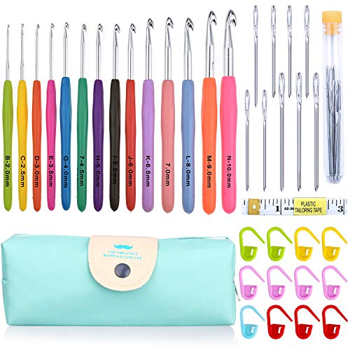Crochet Hooks Set,14 Pcs Ergonomic Soft Grip Handles Large-Eye Blunt Knitting Needles Kit with Case for Arthritic Hands,2mm(B)-10mm(N) Extra Long  Plus Knit Needles Weave Yarn Set