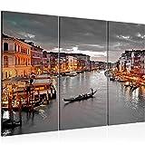 Runa Art Venecia Italia Cuadro Murales Sala XXL Gris Marrn Panorama 120 x 80 cm 3 Piezas Decoracin de Pared 604331b