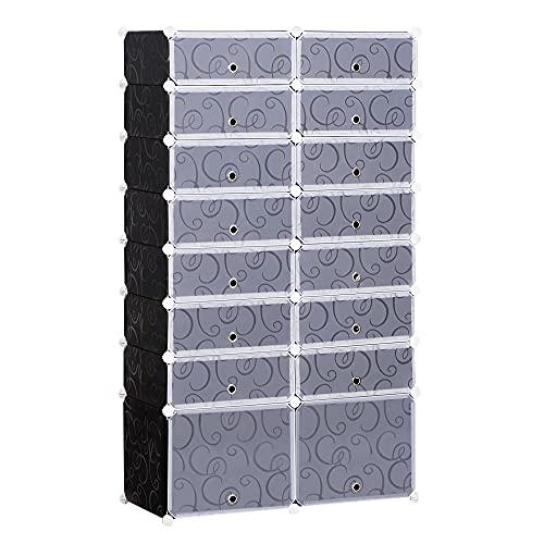 homcom Guardaroba Modulare Scarpiera Cubi a 8 Ripiani 2 Righe, Bianco e Nero in Plastica, 95 x 37 x 160 cm