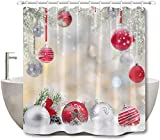 LB Duschvorhang-Set, Zedernholz, Schneeflocke, modisch, rote silberfarbene Kugeln, Badezimmer-Vorhang mit Haken, Weihnachtsdekoration, 183 x 183 cm, wasserdichter Polyester-Stoff