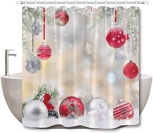 LB Christmas Shower Curtain Set Cedar Snowflake Fashion Red Silvery Balls Bathroom Curtain with Hooks,Xmas Holiday Decorations 72x72 inch Waterproof Polyester Fabric Bathtub Curtain