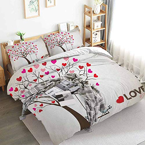 Love Duvet Cover Set,Heart Leaves on Tree with Birds in Love on a Swing Cute Cartoon for Valentines Day,Decorative 3 Piece Bedding Set with 2 Pillow Shams,California King(104'x98') Multicolor